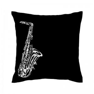 Capa de almofada preta Saxofone - Coleção Música (design exclusivo VivaIn)