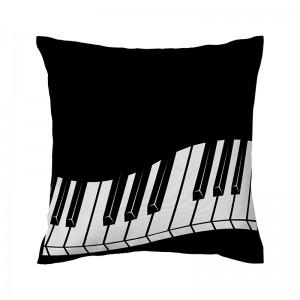 Capa de almofada preta Teclado - Coleção Música (design exclusivo VivaIn)