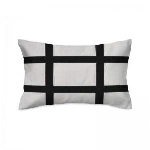 Capa de almofada rineira bordada em linho com veludo preto