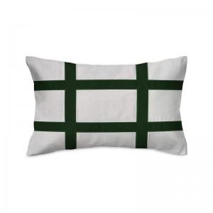 Capa de almofada rineira bordada em linho com veludo verde