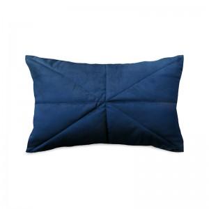 Capa de almofada rineira veludo matelassê azul marinho