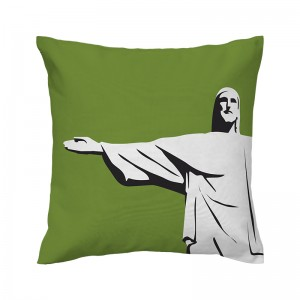 Capa de almofada verde Cristo - Coleção Ícones do Brasil (design exclusivo VivaIn)