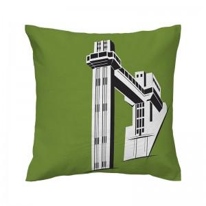 Capa de almofada verde Elevador Lacerda - Coleção Ícones do Brasil (design exclusivo VivaIn)