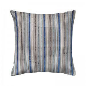 Capa de almofada listrado veludo colorido azul