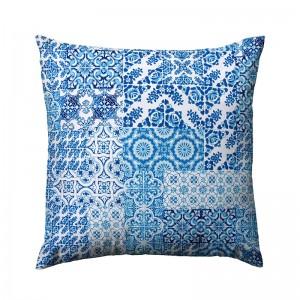 Capa de almofada suede azulejo português