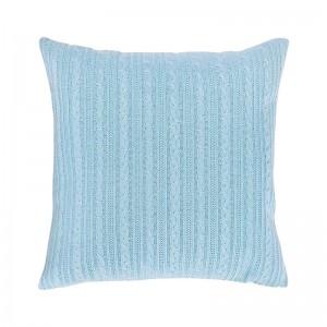 Capa de almofada tricô duplada azul claro 50 x 50 cm