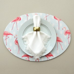 Capa para sousplat flamingo azul e rosa