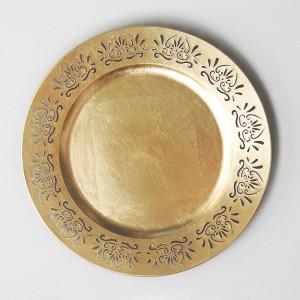 Sousplat redondo dourado vazado