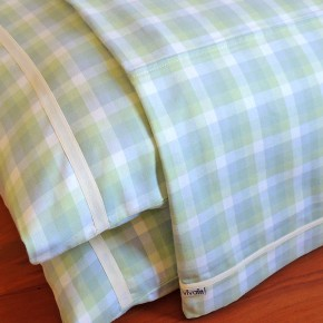 Jogo de lençol flanela xadrez azul e verde casal