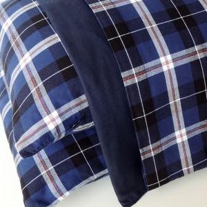 Jogo de lençol CASAL flanela xadrez azul e cinza