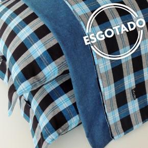 Jogo de lençol QUEEN flanela xadrez azul, preto e cinza