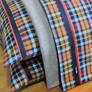 Jogo de lençol QUEEN flanela xadrez laranja e preto