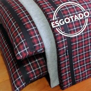 Jogo de lençol CASAL flanela xadrez vermelho