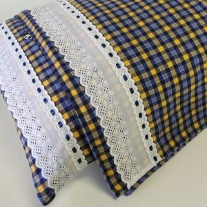 Jogo de lençol flanela SOLTEIRO Tanzanita (com bordado inglês + passa fita)