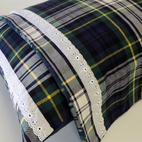 Jogo de lençol SOLTEIRO flanela xadrez verde com bordado inglês