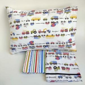 Jogo de lençol infantil 3 peças Carro colorido