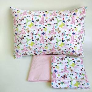 Jogo de lençol infantil 3 peças Pássaro Rosa